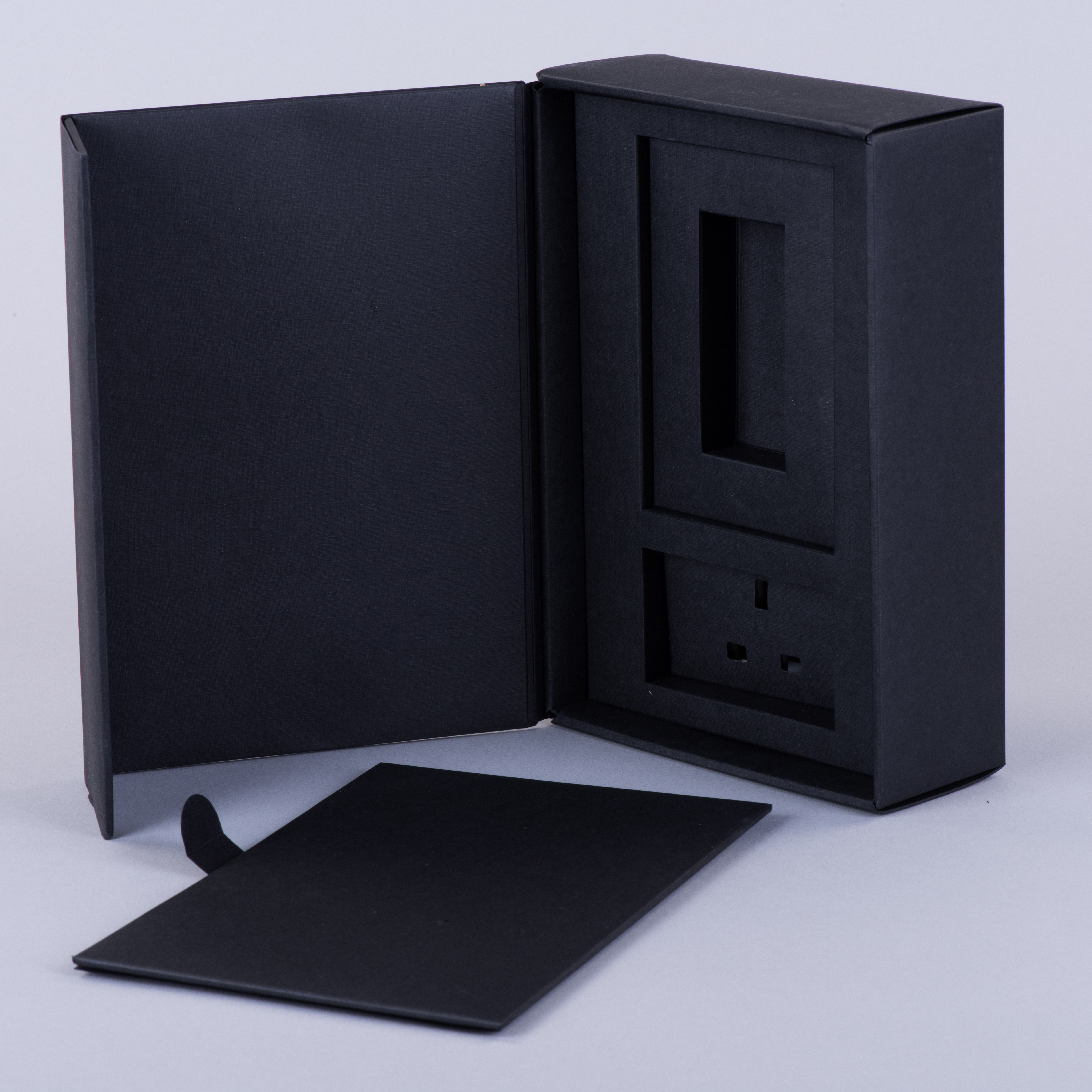 Hinged Lid Rigid style Presentation box with multiple layered fitment