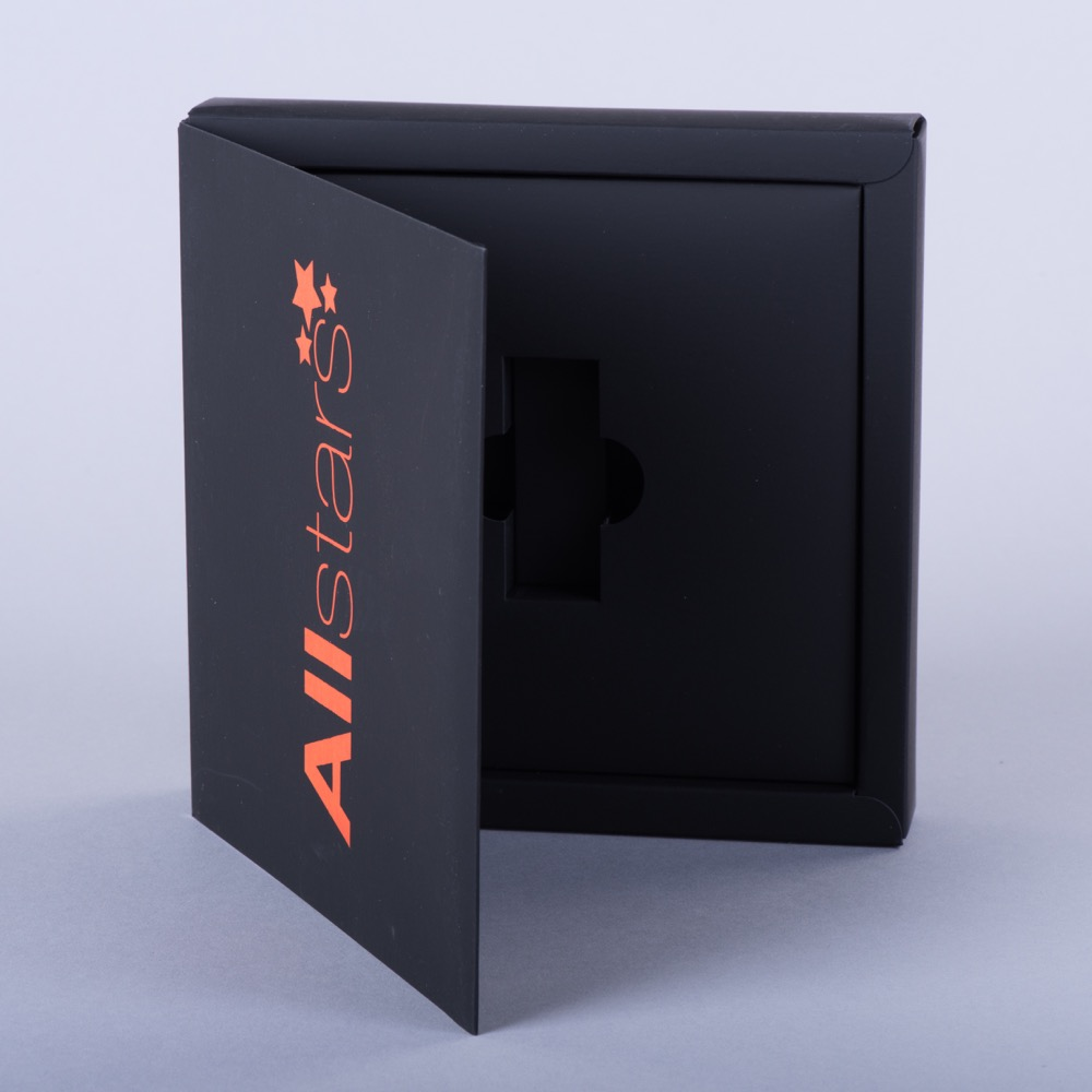 Hinged lid promotional box with board plinth to hold usb
