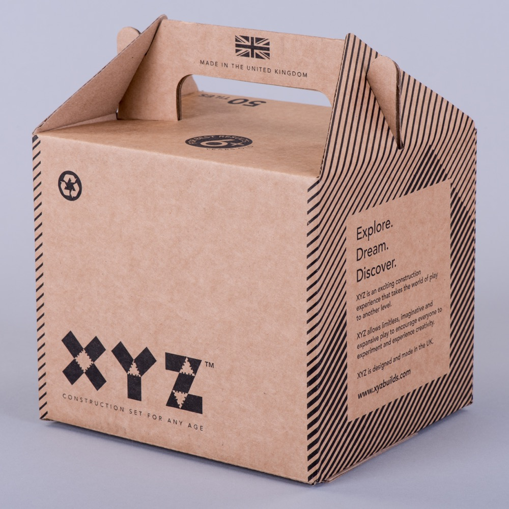 Flexo printed corrugated carry box