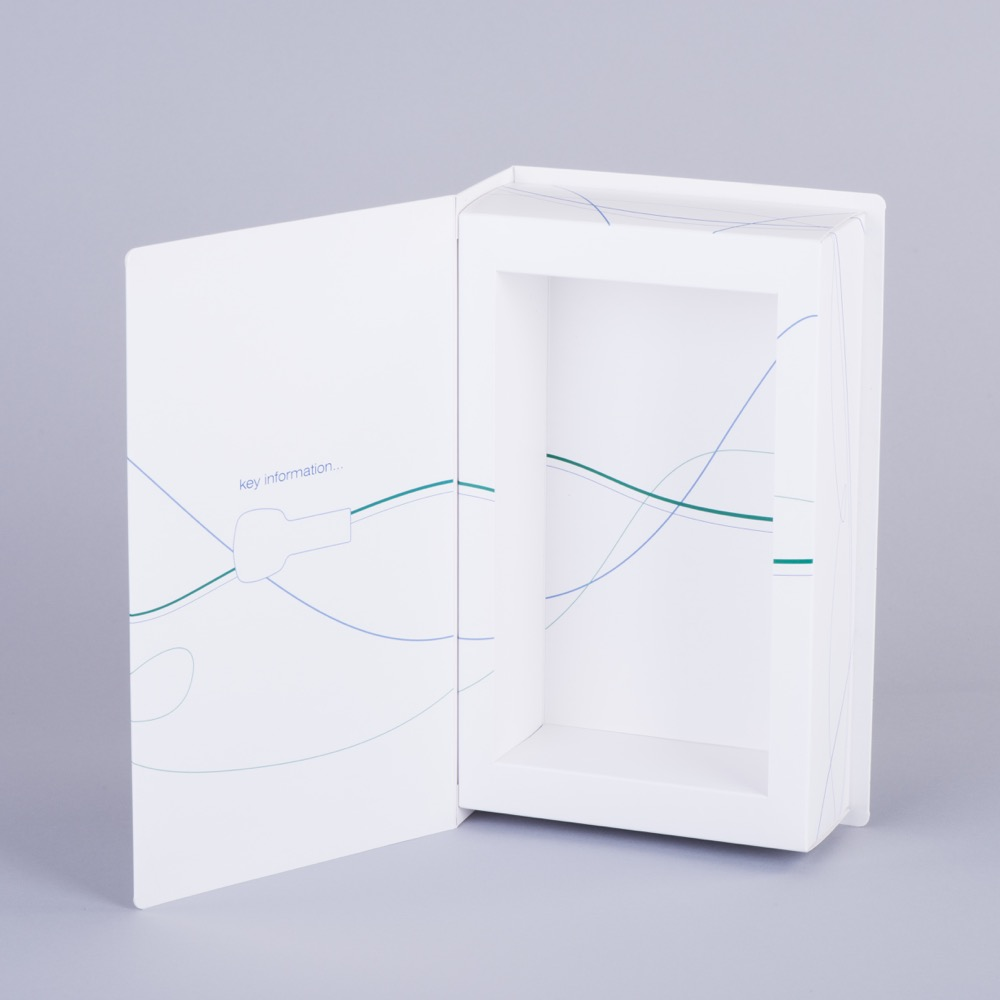 Book style hinged lid presentation box