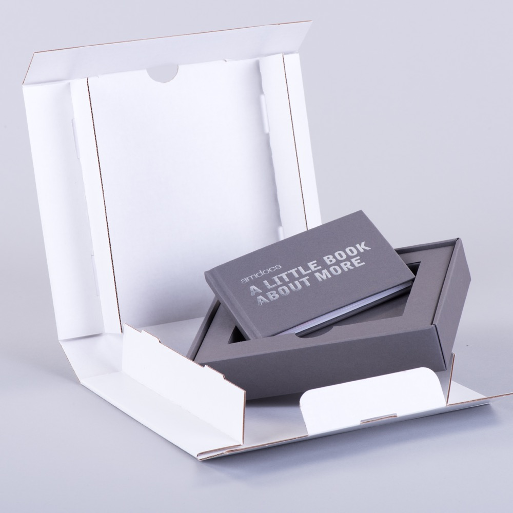Rigid style lift off lid promotional packaging with case bound book